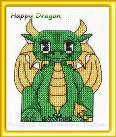 Happy Dragon - cross stitch pattern
