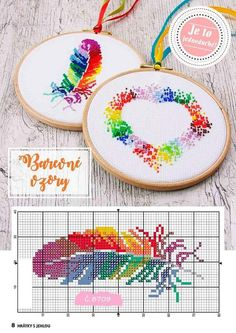 Ideas for crochet bookmark pattern sew That feather pattern looks beautiful! Cross Stitch Bookmarks, Crochet Bookmarks, Cross Stitch Heart, Simple Cross Stitch, Cross Patterns, Modern Cross Stitch Patterns, Counted Cross Stitch Patterns, Cross Stitch Designs, Embroidery Hearts