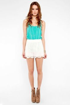 beaded scallop shorts with turquoise top