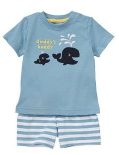 "Baby Clothes | Gymboree Whale Two-Piece For Baby Boy ""Daddy's Buddy"" 0-3 Months"