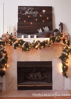 """O Come Let Us Adore Him"" Rustic Christmas Mantle 