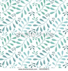 Vector seamless floral pattern on white background. Branches of a plant