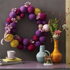 Yarn ball wreath!