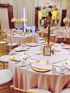 A beautiful vision of pink and gold at the #UniversityofMichigan !   #wedding #linenrental