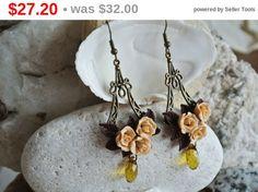 SALE Beige earrings Rose earrings champagne earrings flower polymer clay jewelry beige wedding beige bridesmaid gift romantic earrings (27.20 USD) by LandOfJewellery