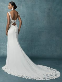 Maggie Sottero Kelsey - Buy a Maggie Sottero Wedding Dress from Bridal Closet in Draper, Utah – mybridalcloset-dev Crepe Wedding Dress, Wedding Dress Backs, Maggie Sottero Wedding Dresses, Wedding Dress Pictures, Wedding Gowns, Wedding Dress Sheath, Modest Wedding, Designer Wedding Dresses, Bridal Dresses
