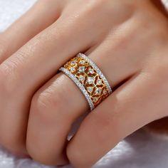 Jeulia Two Tone Created White Sapphire Women's Wedding Band TW - Jeulia Jewelry Gold Jewelry Simple, Gold Rings Jewelry, Diamond Jewelry, Antique Jewelry, Diamond Art, Women's Jewelry, Jewelry Findings, Bridal Jewelry, Gold Ring Designs
