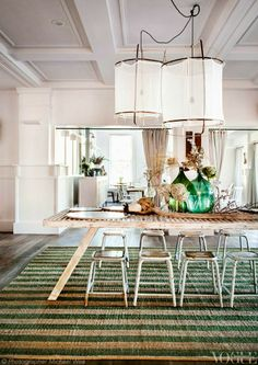 COLOR: Pops of green with light and bright decor.