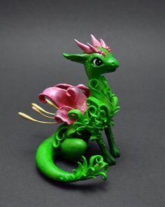 Fairy dragon, OOAK, dragon sculpture, dragon figurine, green dragon, dragon statuette, flower dragon, collectible figurine, fantasy dragon