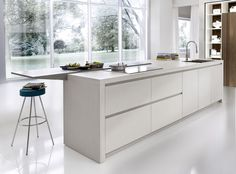 Concrete look finish - cantilevered top. Pedini London, Vintage Kitchen, Showroom, Designer Kicthens