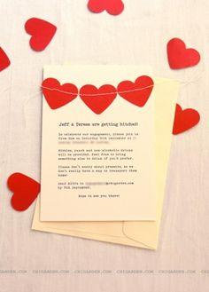 sewn hearts paper invitation by concetta