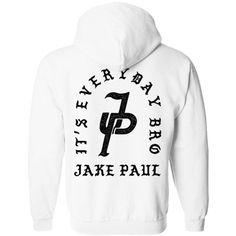 Jake Paul It's Everyday Bro Hoodie ($23) ❤ liked on Polyvore featuring tops, hoodies, hoodie top, white hoodie, hooded pullover, sweatshirt hoodies and white hoodies