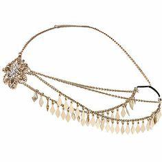 Gold tone embellished hair crown �8.00