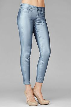 7 For All Mankind, SEVN-6640 The Crop Skinny in Metallic Coated Blue , 7forallmankind.com