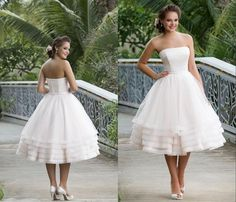 Cool Awesome 2016 Plus Size Short Wedding Dresses Strapless Organza Tiered Skirts Ivory Beach Vintage Backless Tea Length Bridal Gowns Traditional Wedding Dresses Vintage Style Wedding Dresses From Myweddingdress, $153.93| Dhgate.Com Check more at http://myfashiony.com/2017/awesome-2016-plus-size-short-wedding-dresses-strapless-organza-tiered-skirts-ivory-beach-vintage-backless-tea-length-bridal-gowns-traditional-wedding-dresses-vintage-style-wedding-dresses-from-myweddi/