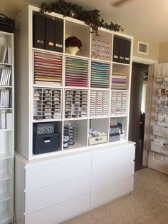 Photo of Stamp-n-Storage - Hutchinson, MN, United States. Kallax and Malm units stacked.  Stamp n Storage inserts.  Now all of my Stampin Up supplies have a home  and is so organized.