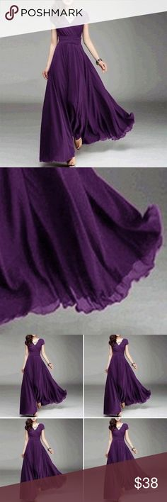 Women Long Formal Evening Prom Party Bridesmaid Ch Women Long Formal Evening Prom Party Bridesmaid Chiffon Ball Gown Cocktail Dress 👗  Color DARK PURPLE Note: The tag size is Asia size, please do not choose it as a US/EU/UK/AU size, it is smaller about 2 size than US AU EU size Dresses Prom