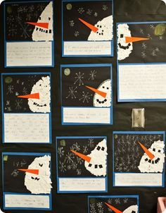 snowmen at night craft with ripped paper