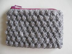 Grey and Pink Knitted Purse by matemo on Etsy, €12.00