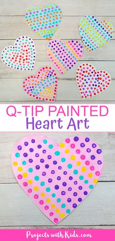 This q-tip painted heart art is so easy and fun for kids to make! A great Valentine's Day craft that kids of all ages will enjoy making. and crafts for kids Easy Q-Tip Painted Heart Art for Kids to Make Q Tip Painting, Valentine Crafts For Kids, Crafts To Make For Kids, Kids Paint Crafts, Arts And Crafts For Kids For Summer, Easy Kids Crafts, Valentines Hearts, Valentine's Day Crafts For Kids, Fall Crafts