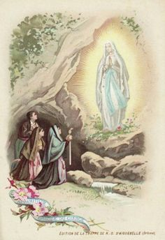 A holy card of Mary's apparition in Lourdes on 7 April 1858, when St Bernadette's hand was touching the flame of a candle without being burned.