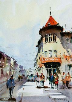 Watercolour-Acuarela-Corneliu-Dragan-Targoviste-peisaj-citadin-4