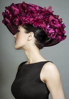 Rachel Trevor-Morgan Millinery - Deep pink sidesweep hats with silk petal underbrim