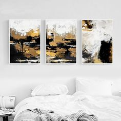 Modern Abstract Black Gold White Oil Painting on Canvas Home Decoration Hand Paintings Wall Art Picture For Living Room Unframed