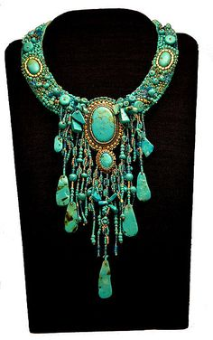How would you store this? With  MY AMAZING ORGANIZER you could store/display and still enjoy it for the work of art it is!  Polymer turquoise necklace grande by kathy43_sparky, via Flickr