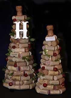 Got a healthy collection of wine corks? Here's an easy way to turn them into a festive tabletop decoration. | 12 Days of Pinterest (2014)