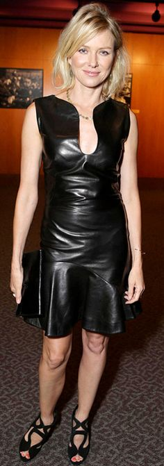 Who made  Naomi Watts' black leather dress, black clutch handbag, and cut out shoes that she wore on June 25, 2013?