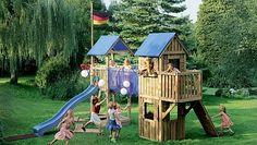 Drewniany plac zabaw do ogrodu i zjeżdżalnie - producent - RSC Bis
