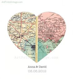 Custom Map Art Wall Decor for Engagement Gift Wedding Gift Heart Map Print - Personalized with 2 Favorite Locations - faux stitched middle. $68.00, via Etsy.