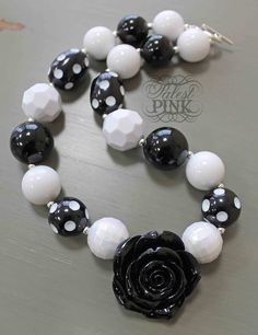Black Rose Necklace - made by Palest Pink www.facebook.com/palestpink Cute chunky little girls necklace
