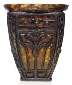 """Louis Majorelle (1859-1926) & Daum - Vase. Glass with Wrought-Iron Mounts. Circa 1910-1920. 9-1/4""""."""
