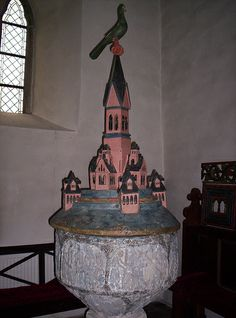 Medieval lid to font in Endre church, Gotland