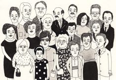 I used to enjoy drawing pictures of random families/groups like this (portrait by elisa munsó)