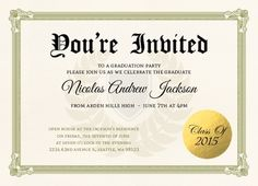 Fun Diploma Graduation Party Invitation by InviteShop.com. #graduationinvitations #graduation #party #invitations