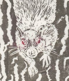 Legendary White Squirrel - linocut by minouette on Etsy