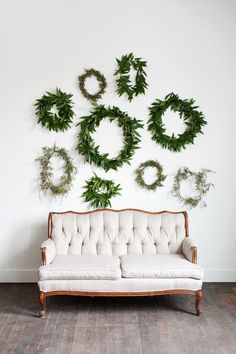 Greenery wreath wall wedding backdrop