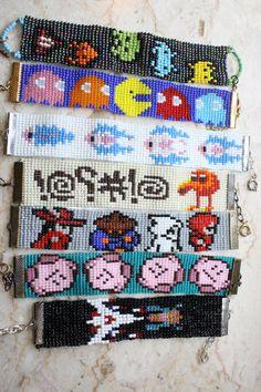 Classic Video Game pixel beaded bracelet- Choose 1- made upon order space invaders pac-man Metroid qbert Kirby galaga