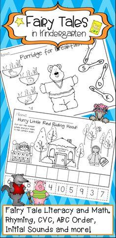 Kindergarten Fairy Tales Math and Literacy Activities