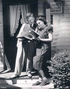 Judy & Mickey outside the MGM Schoolhouse in 1937.