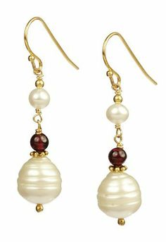 Potato and Ringed White Freshwater Cultured Pearls with Garnet Gold Over Silver Drop Earrings Amazon Curated Collection. $29.00. Made in China