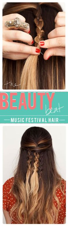 Music Festival hair idea xo So glad I'm growing my hair out! Love Hair, Great Hair, Gorgeous Hair, Beautiful Braids, Pretty Hairstyles, Braided Hairstyles, Music Festival Hair, Music Festivals, Coiffure Hair
