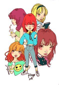 Fringegirls.Ilustracion digital para modelo de camisetas by Jose Gomez