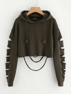 Cheap plain sweatshirt, Buy Quality cropped hoodie directly from China sweatshirt sweatshirt Suppliers: ROMWE Drop Shoulder Hollow Out Sleeve Crop Hoodie 2017 Green Long Sleeve Casual Top Seam Drawstring Plain Sweatshirt Teenage Outfits, Teen Fashion Outfits, Mode Outfits, Outfits For Teens, Girl Outfits, Fashion Ideas, Women's Fashion, Fast Fashion, Fashion Styles