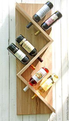 Купить Полка для вина - коричневый, бутылочница, дизайн интерьера, Современная мебель, зигзаг, минимализм / Vine shelf