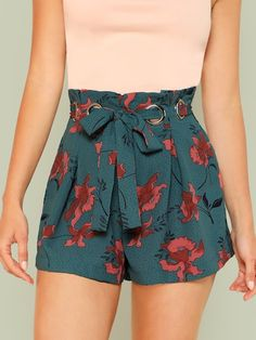 Young Boho Floral Loose Zipper Fly Mid Waist Boxed Pleated O-Ring Belted Shorts with Belt shorts shorts shorts shorts outfits shorts Shorts Outfits Women, Mode Outfits, Short Outfits, Spring Outfits, Fashion Outfits, Fashion 2018, Fashion Trends, Fashion Top, Cheap Fashion