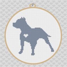Pit  Bull Silhouette Cross Stitch Pattern